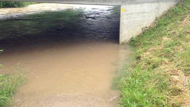 Überschwemmter Wanderweg bei Rohr AG am Samstag, 01.06.2013.