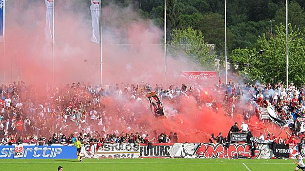 Die FC Aarau Fans zeigten ihre Freude über den Aufstieg schon im Stadion deutlich.