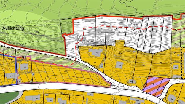 Naturschutzzone statt Bauland am Bruggerberg: Planausschnitt aus dem Bauzonen- und Kulturlandplan der Gemeinde.