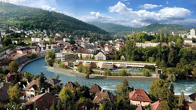 Das Baugesuch für das geplante Thermalbad von Baden verzögert sich. Visualisierung des Bades.