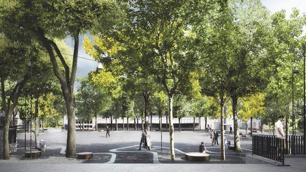 Visualisierung des geplanten Brown-Boveri-Platzes in Baden Nord. Diese lässt jetzt auf sich warten.
