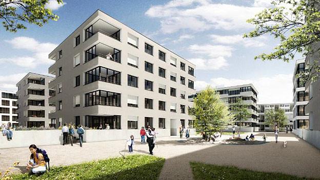 Eine Visionierung des neuen Stadtteils Olten Südwest: Über 400 Wohnungen sollen hier entstehen.