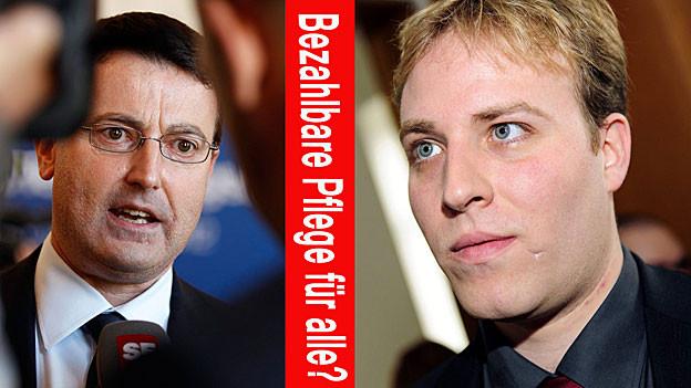 Hitzige Diskussion um die SP-Initiative «Bezahlbare Pflege für alle»: Thomas Burgherr (SVP) gegen Marco Hardmeier (SP)