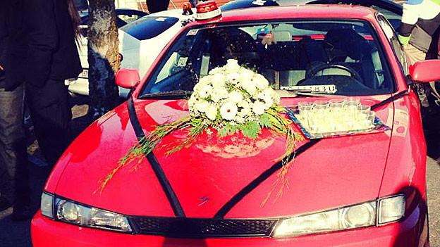 Eine Auto, das an der Gedenkfahrt teilnehmen wollte.