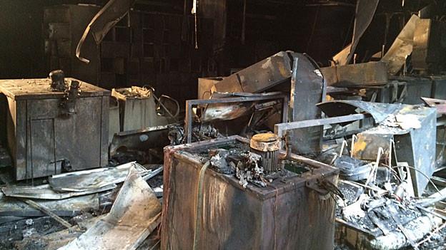 Die zerstörte Galvanikabteilung der Eta Grenchen trifft die Swatch. Wie hoch der Schaden ist, ist noch nicht klar.