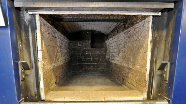 Brennkammer eines Krematoriums.