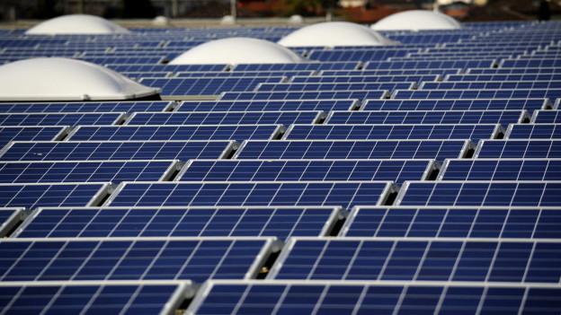 Ein dach voller Solarzellen.