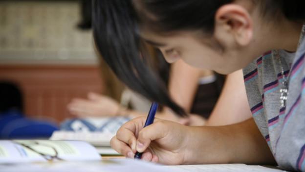 Eine Primarschülerin konzentriert bei der Arbeit