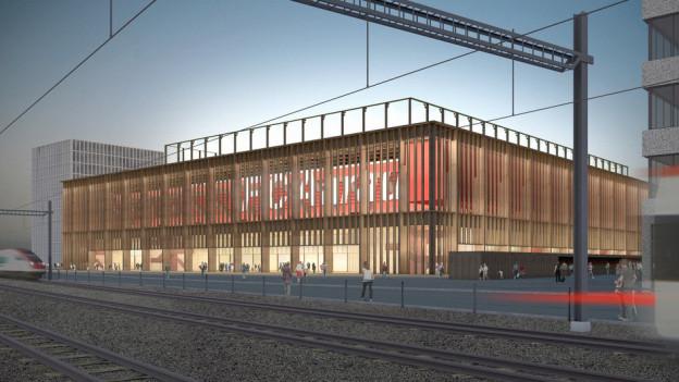 Montage des neuen Stadions in Aarau an den Bahngeleisen.