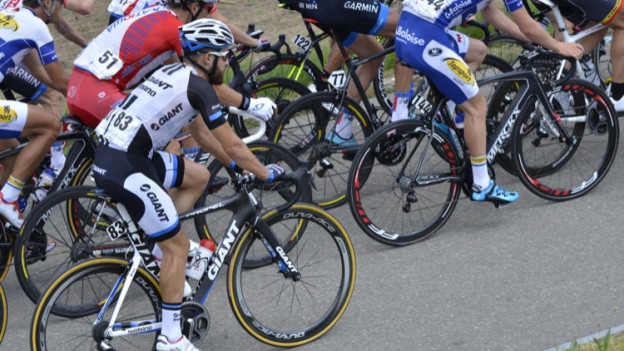Radfahrer in Aktion.