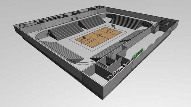 Zeichnung der Mitelland-Arena wie sie dereinst aussehen soll: In der Mitte ist ein Sportfeld, darum herum sind mehrere Tribünen.
