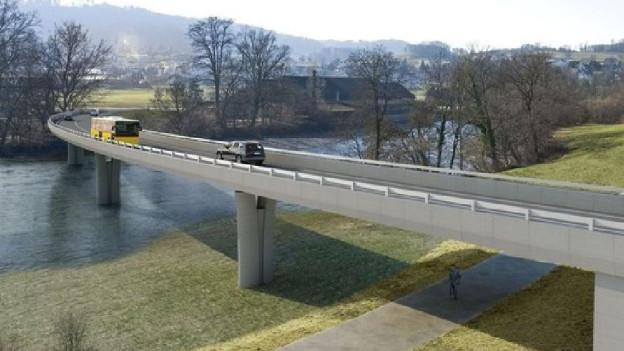 Projekt-Visualisierung der Brücke über die Reuss