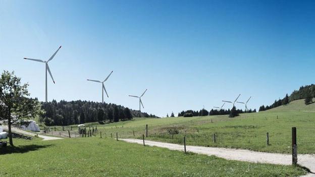 Visualisierung des Windparks auf dem Grenchenberg.