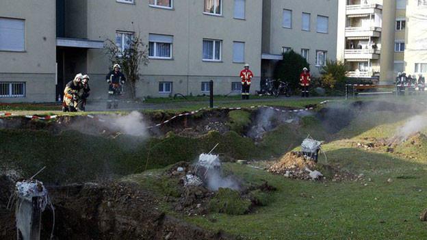 Eingestürzte Tiefgarage in Gretzenbach