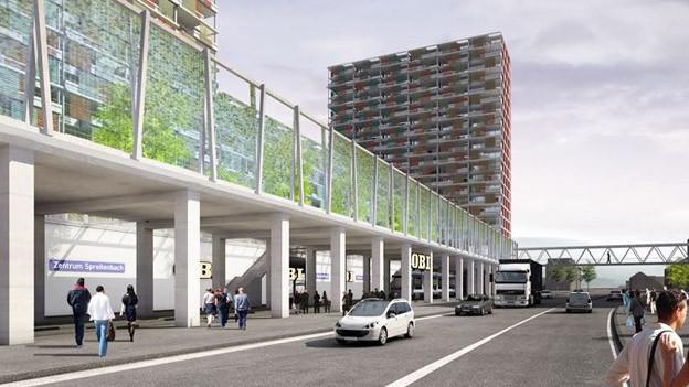 Visualisierung des geplanten Baumarktes beim Shoppingcenter Tivoli in Spreitenbach.
