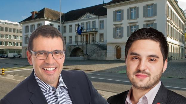 Portraits der beiden Streitenden vor dem Regierungsgebäude