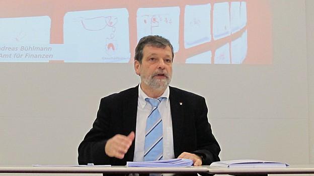 Roland Heim bei der Präsentation der Zahlen 2014.