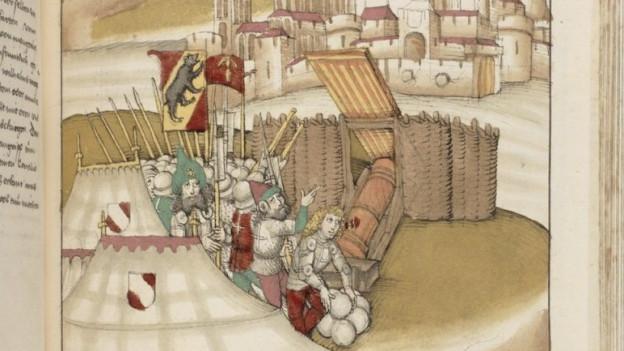 Malerei mit mehreren Männern mit einer Berner Fahne und einer Kanone. Sie stehen vor einer Stadt.