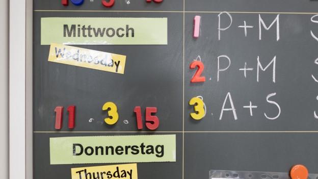 Wandtafel mit Zahlen und Buchstaben.