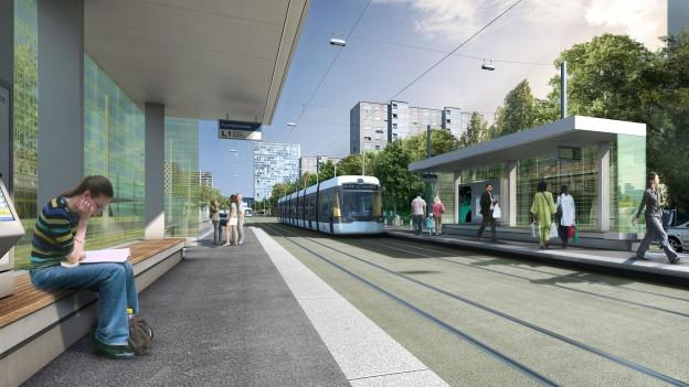 Visualisierung der geplanten Haltestelle der Limmattalbahn in Spreitenbach.