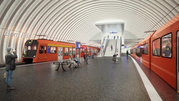 So soll der neue RBS-Bahnhof in Bern aussehen. Er bietet den vielen Pendlern mehr Platz.