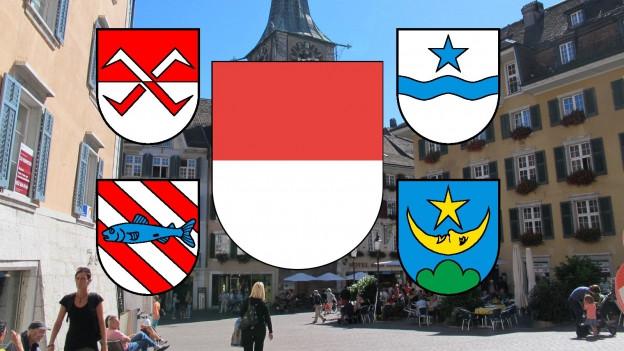 Stadtansicht von Solothurn mit Gemeindewappen aller fusionierenden Gemeinden