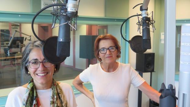 SP-Frau Kathrin Scholl (l.) und Renate Gautschy von der FDP (r.) diskutieren über das Aargauer Kinderbetreuungsgesetz.