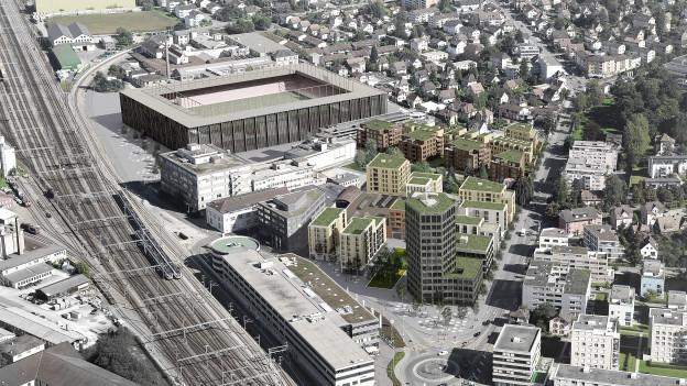 Visualisierung des Stadions aus der Vogelperspektive.