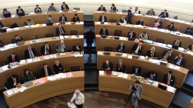 Das Parlament von der Zuschauertribühne aus fotografiert.