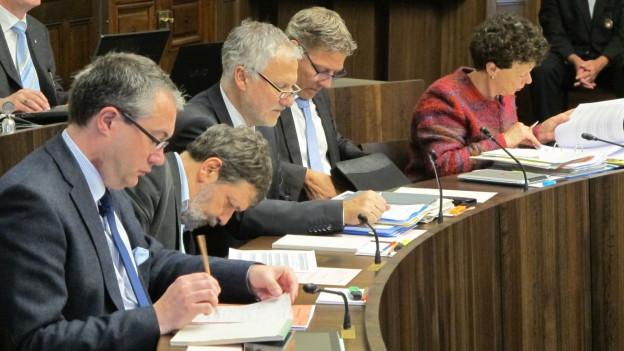 Regierungsrat Solothurn: Remo Ankli, Roland Heim, Peter Gomm, Roland Fürst und Esther Gassler.