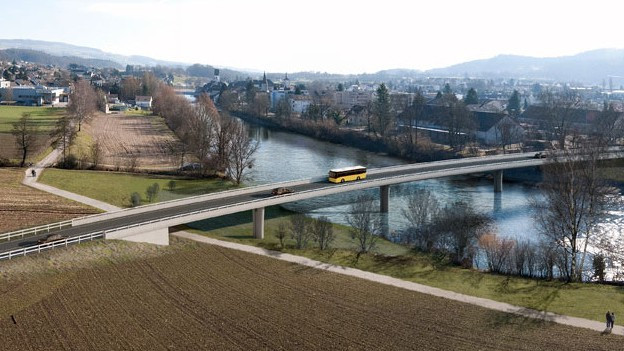Umstritten: Die Umfahrung Mellingen mit Brücke.