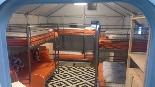 Blick ins Innere eines solchen Shelters...