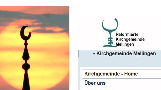 Islamischer Halbmond und christlicher Kelch ...