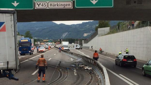 Die Solothurner Strassen seien «sicher», schreibt die Kantonspolizei in der Unfallstatistik. Im Bild: Unfall auf der A1.