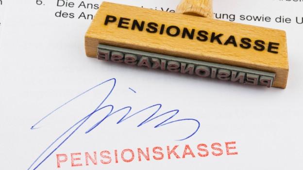 Stempel mit Aufschrift Pensionskasse