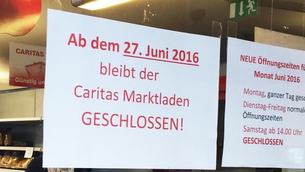 In Baden bleibt noch der Secondhand-Laden der Caritas. Dieser schreibt im Gegensatz zum Markt schwarze Zahlen.