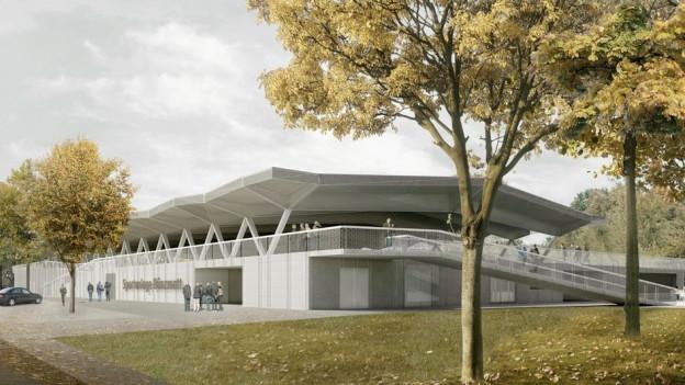 Das Sportzentrum Bünzmatt von aussen in einer Illustration.