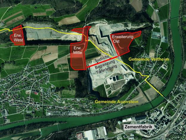 Karte des Steinbruchs.