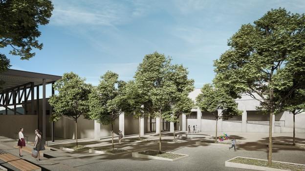 Visualisierung Sportzentrum Tägerhard Sanierungsprojekt Aussenansicht