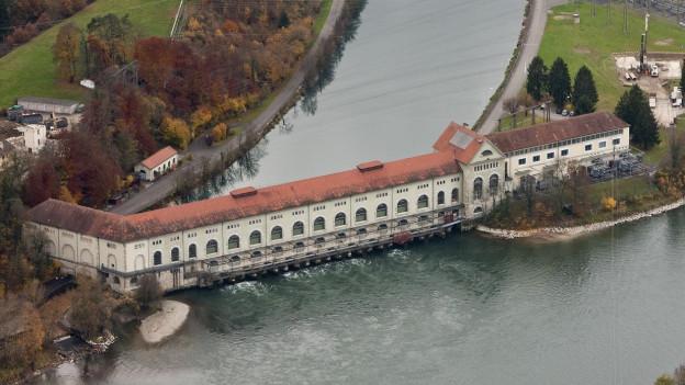 Luftaufnahme Wasserkraftwerk.
