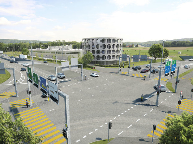 Visuallisierung Kreuzung bei Hero-Gebäude in Lenzburg.