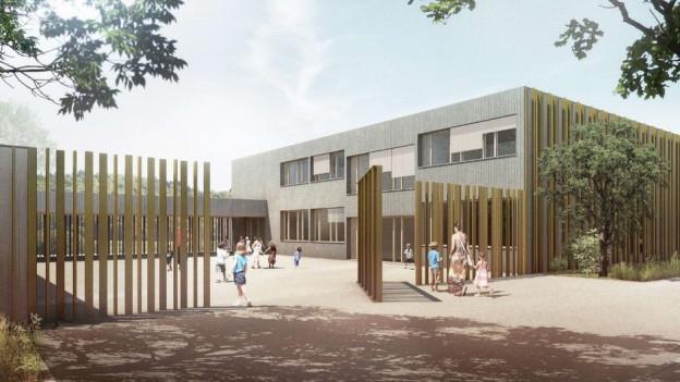 Visualisierung des Goldilands (Architekten Meier, Leder, Baden). Unterdessen stehen die Tagesstrukturen.