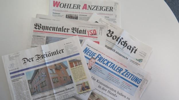 Freiämter, Fricktaler Zeitung oder Wynentaler Blatt: Nicht nur im Aargau gibt es diverse Lokalzeitungen.
