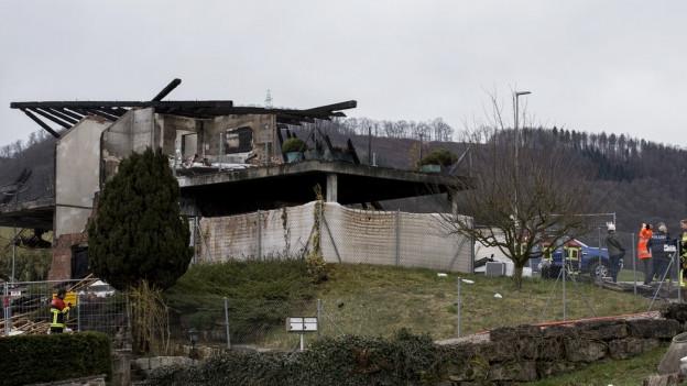 Das völlig zerstörte Haus.