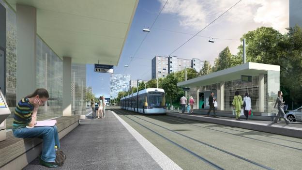 Spreitenbach Furttalstrasse: So könnte die Bahn einmal daher kommen.