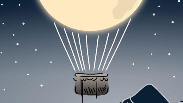 Grafik mit dem Mond als Heisluftballon.