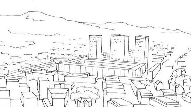 Skizze mit Stadion und Wohnblöcken