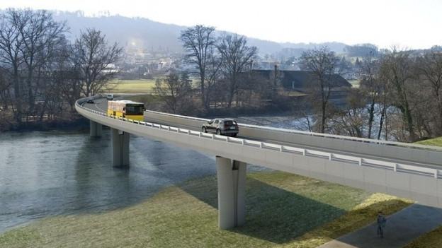 Visualisierung mit Brücke und Fluss.