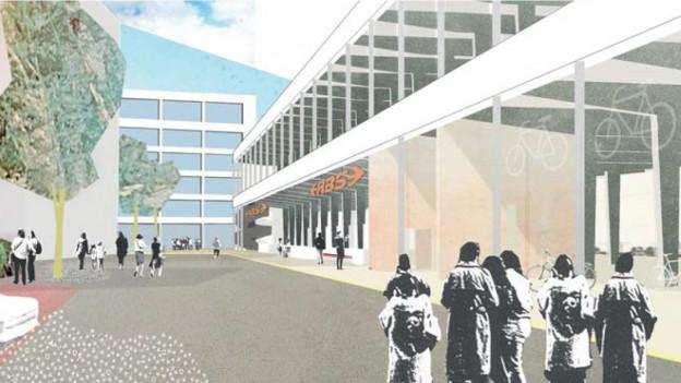 So könnte der neue RBS-Bahnhof in Solothurn aussehen. Eine Visualisierung aus dem Architekturwettbewerb.