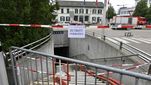 Nach dem Unwetter war auch die Bahnhofsunterführung in Zofingen gesperrt.